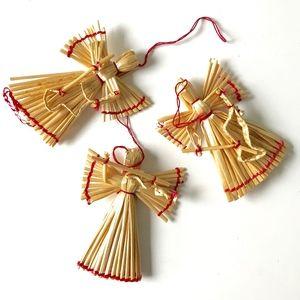 Straw Angel Christmas Tree Ornaments - Set of 3